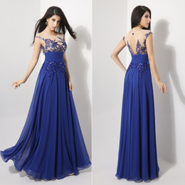 Wholesale SD064 US Size In Stock New Sheer Back Chiffon Cocktail Homecoming Prom Party dresses Evening Gowns Chiffon Royal Blue Real Sample