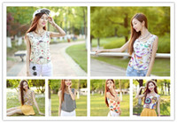 Women Tank Top Floral Free shipping S-XXL New style Women camis Casual Chiffon Vest Top tee Tank girl lady Sleeveless T Shirt Blouse top