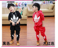 Boy Spring / Autumn  - 2014 New Fashion Casual Sport Suits Tracksuits For Kids Long Sleeve Leisure Outwear Boys Clothing Sets Girls Set Outfit Sets Red Black