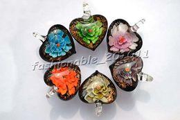 Heart Multi-Color Lampwork Murano Glass Pendants Necklaces Flower in 3D Wholesale Retail FREE #pdt6