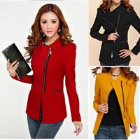 Women Blazer Long Sleeve Women Fashion Zip Skinny Jackets Long Sleeve Blazer Suit Coat Overcoat DH
