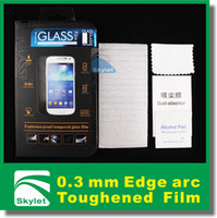 Wholesale Tempered Glass Screen Protector mm Thin Arc edge Pieces For iPhone s S for samsung galaxy S5 S4 note Retail Package