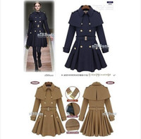Cheap Hot British Style Womens Wool Winter Long Warm Trench Coat Parka Outwear