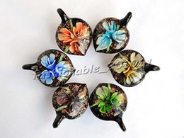 Peach Heart Multi-Color Lampwork Murano Glass Pendants Necklaces Animal Wholesale Retail 6 Color FREE #pdt9