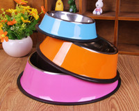 Wholesale AA Colorful New Pet Dog Stainless Steel Bowl for Dogs Cat Food Water Bowls Feeding Dish NON Skid New Diameter quot quot quot quot
