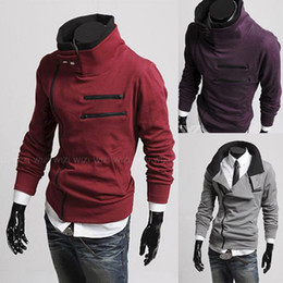 Wholesale High quality men s sweater jackets zipper design more than double thick fleece jacket collar cardigan sweater