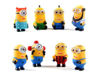 cake topper - 8pcs set Despicable Me Minion Character Display Figures Kid Toy Cake Toppers Decor Cartoon Movie PVC Action Figure With Retail Box