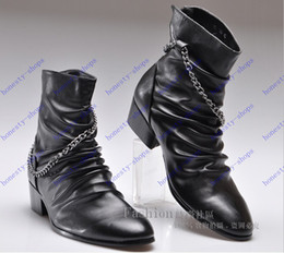 Wholesale New Arrival Europe and America British pointed men s Boots men business dress boots Pointed Toe mens genuine leather motorcycle shoes