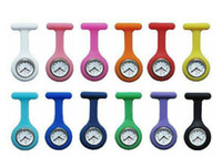 Nurse Unisex Digital Promotion - Christmas Gifts Colorful Nurse Brooch Fob Tunic Watch Silicone Cover Nurse Watch 14 Colors Free DHL Shipping