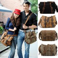 Wholesale New Vintage Casual Unisex Men Women Canvas Leather Fashion Men Crossbody Messenger Shoulder Bag Satchel Laptop School Bag