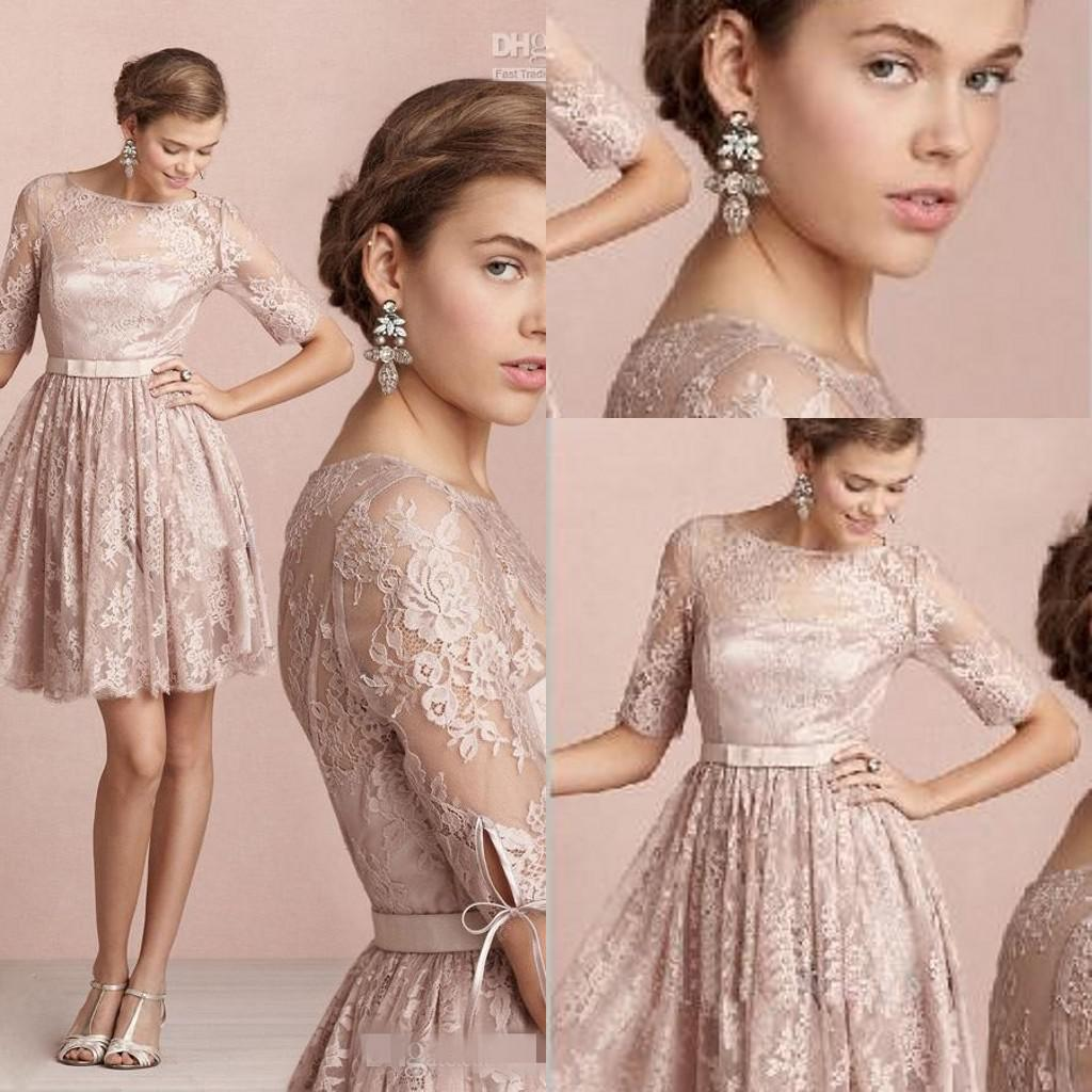 Fashion Bridesmaid Dress Vintage Modest Champagne Lace