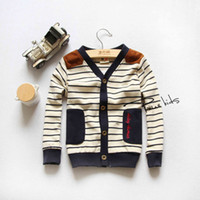 Wholesale 2014 Spring Korean children Clothing British style boys and girls V neck stripe knitted cardigan