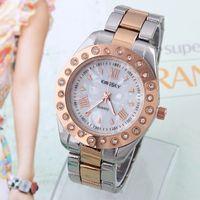 Women's Round 24.5 Hardlex Women's Wristwatch Analog Dial Full Steel Watch KINGSKY Clocks Round Quartz Movement New 2014 Dropship