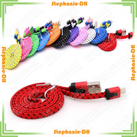Wholesale 2M FT Noodle Fiber Braided USB Cable Sync Data Charging Cable Fiber