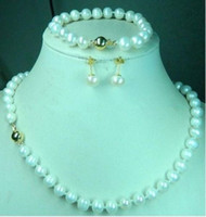 Wedding akoya pearl set - 7 mm K Gold White Cultured Akoya Pearl Necklace Bracelet Earring Set