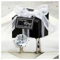 Wedding Event & Party Supplies Yes wedding favor--His & her Crystal Napkin Ring