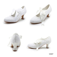 Wholesale SSJ High Quality Ladies Glitter Wedding Shoes Sexy White Ivory Cheap Low heels Bows Satin and Lace Elegant Women Prom Party Shoes SS007