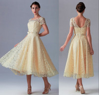 tea length bridesmaid dresses - Vintage Champagne Lace Backless Bridesmaid Dresses with Short Sleeves A line Tea Length Bow Beach Little White Wedding Dresses Cheap