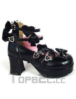 Wholesale Black Chunky High Heel shoes Platform Straps With Hearts PU Lolita Shoes