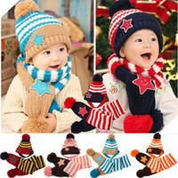 Wholesale 2014 winter smile star warm boy and girl children wool hats caps scarves free for shipping