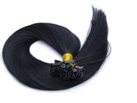 Brazilian Hair Black Straight Free Shipping! 3 piece Lot, Black Color Hair Pieces Pre-Bonded Hair Extension Straight Remy Brazilian Human Hair Flat Tip Hair