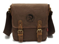 Wholesale Mens Retro Canvas Leather School Satchel Military Shoulder Messenger Laptop Bag