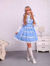 Wholesale Cotton White Lace Long Sleeves Blouse And Blue Applique Sweet Lolita Dress