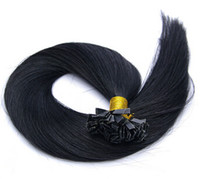 Indian Hair Black Straight 1g s100g 3pcs lot Keratin pre bonded flat tip hair extensions 100% Indian Remy Human Hair HIGH QUALITY