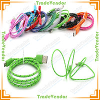 Wholesale 1M FT USB Fabric Braided Charging Sync Data Cable Round Fiber Knit Nylon Woven Charger Cord Lead For Smartphone Mobile Phone Cellphone