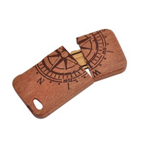 Wholesale Compass Black Walnut wood case Handmade Natural Wood Wooden Hard bamboo Case Cover for iPhone S