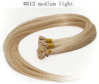 Brazilian Hair #60;   #613 Straight 100g stand, 16''-34'' #1#2#6#613#60 Brazilian REMY human keratin flat tip hair extensions in stock 3pcs lot mixed length available