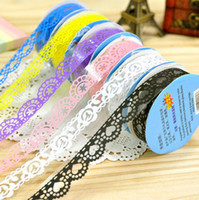 Wholesale Free Ship Solid Color Hollow Out Decorative Sticker Tape Transparent Lace Adhesive Sticker Tape for handmade