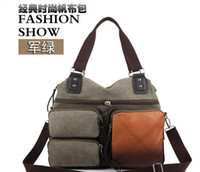 Wholesale Vintage Army Canvas Cow Leather Shoulder Bags Messenger Bag School Bag