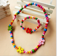 Wood Necklace  CHILDREN JEWELRY SET GIRL MIXED CUTE WOOD BEADS NECKLACE BRACELET SET New Baby Kids Gifts,14MAY101-LIU