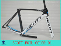 Wholesale 2014 NEW Scott foil carbon frame road bicycle white and BLUE color Bike Frames Outdoor Racing Bike Frames color Team Bike Bicycle Frames