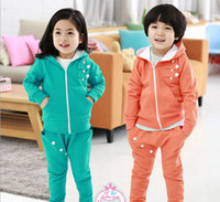 Wholesale Guangdong Quality Children s Clothing Set Manufacturers Fall Korean Of The New Private Zip Fleece Leisure Suit Kids Tracksuit GX660