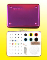 118*83*50mm Aluminium  Purple 35 Holes Dental Bur Holder Disinfection Box For Endo Files Gutta Percha Points Purple