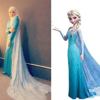 model train - 2014 Frozen Snow Queen Elsa Custom Size For Adult and Kids Princess Dress Blue Tulle with Sequin Crystal Cosplay Evening Dresses TK190