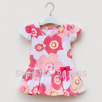 TuTu Summer A-Line Retail Floral Print Pink Infant Girl Dress Casual for 2014 Summer Baby Wear Kids Clothes Toddler Clothing Children Outerwear