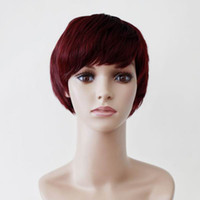 Wholesale Newest MAYSU Short Straight Wig Women Wine Red Straight Hair Wig With Inclined Bangs Style hg09 j