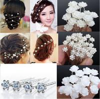 Wholesale NEW Wedding Bridal Crystal Faux Pearl Flower Hairpins Hair Pins Bridesmaid Hair Clips A JH03001
