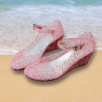 Wholesale Summer high heeled wedge sandals jelly sandals hollow nest shiny piece of crystal sandals