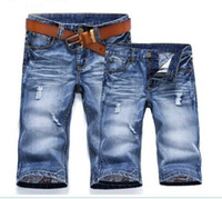Wholesale High Quality New Men s Fashion Summer Short Jeans Casual Pants Watered Blue