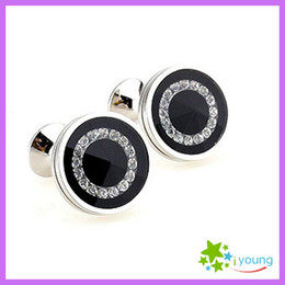 Exquisite Round White Rhinestone Cufflinks Business Shirt Cuff Link Sleeve Nail Men French Suit Buttons Jewelry Christmas Gift