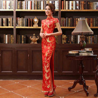 A-Line cheongsam - Long Cheongsam Dress Wedding Dresses Chinese improved Etiquette Hotel Toast Clothing Autumn and Winter Cheongsam High Slit