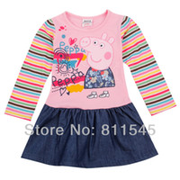 TuTu Summer A-Line Retail New 2014 Spring Peppa Pig Infant Dress for Girls Jeans Casual Baby Wear Kids Clothes Children Outerwear Toddler Clothing