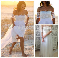 Sheath/Column Reference Images Off-Shoulder Beach Boho Dreamy Strapless Garden Beach Wedding Dress Featuring Lace Arm Bands And Soft Tulle Skirt Bridal Gown