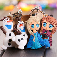 Wholesale 100pc Frozen Bag accessories Anime Cartoon Movie Frozen Keychain Set Cute Elsa Anna Olaf Snow Romance Snow treasure Sided key chain Z117
