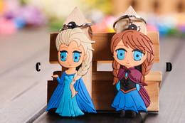 Wholesale 200pc Fro zen Bag accessories Anime Cartoon Movie Fro zen Keychain Set Cute Elsa Anna Romance Snow treasure Sided key chain Z117
