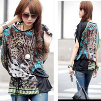 Women 100% Linen Sashes shirt Hot sale new 2014 Wild tiger leopard print 3 colors sexy naked shoulder chiffon cool fashion tide women WF-382